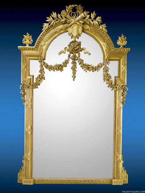 91″ high Monumental Gold Leaf Mirror from M S Rau Antiques