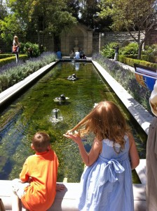 At the Reflection Pond on the terrace at Greystone Mansion