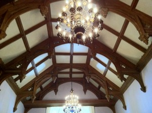 Newly restored finialled ceiling in the Greystone Mansion living room