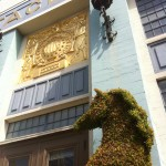 All the sound Stages at 20th Century Fox have this gorgeous gilt frieze above the entrance - this one is flanked by a pair of ten foot high topiary stallions