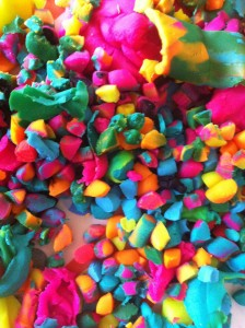 most awesome Playdoh mess EVER - I left all the pieces to dry because I wanted to preserve the color awesomeness