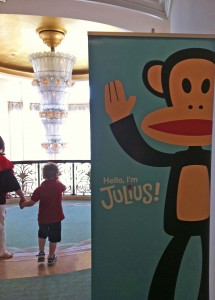 A great visual combo - greeting from Julius as we approach the fabulous Murano chandelier at Beverly Hills Hotel
