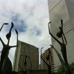 The ballerinas sculptural installation outside the Denver Sheraton pirouette against the skyline
