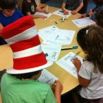 Drawing Curious George's face with fun printables at the Summer Reading Party
