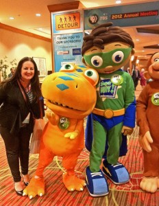 with Buddy the Dinosaur of Dinosaur Train and Super Whyatt of Super WHY! at PBS Annual Meeting PBS Kids breakfast