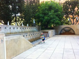 Fountains at the Central Library in Los Angeles