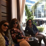 recharging poolside with Laura Clark of Mom.me,  Yvonne Condes and Sarah Auerswald of MomsLA