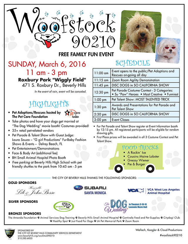 Join Louis XIV of Beverly Hills and BeverlyHillsMom at Woofstock 90210 2016!