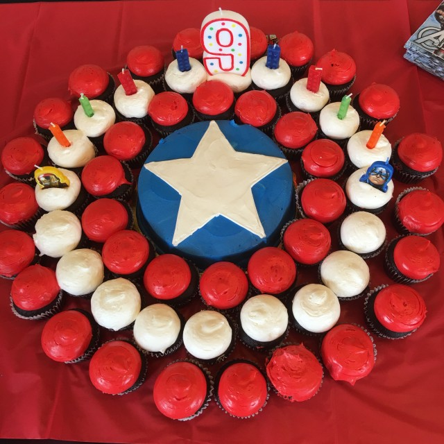 I took 18 kids to opening weekend of Captain America : Civil War, then had an afterparty for the cake in the balcony of the AMC Century City. He better remember this when he thinks I'm annoying.