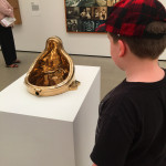 "He wasn't really sure what to think about Sherrie Levine's ""Fountain (Buddha)"", a 1996 cast bronze urinal, at The Broad"