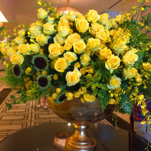 Enormously gorgeous flowers in the Beverly Hilton lobby
