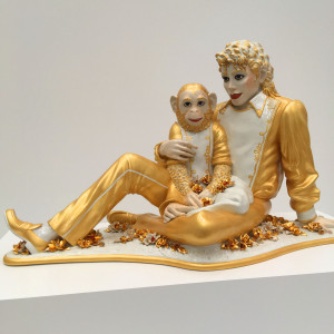 "Award for creepiest effigy on earth: ""Michael Jackson and Bubbles"" a life size Capodimonte-esque statue of MJ by Jeff Koons - at The Broad"